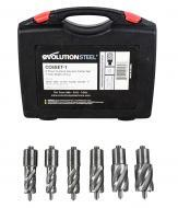 Evolution Power Tools A-CC6SET-1 CYCLONE Premium 1-Inch Annular Cutter Set with Pilot Pins-For Us...
