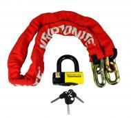 New York Red FAHGETTABOUDIT Chain 1415 14mm x 150cm with NY Disc 15mm Lock HEAVY