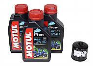 Motul 105878 4T 10W40 Motor Oil - 3 pck / K&N 56-0128 Oil Filter