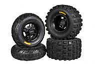 Ambush 21x7-10 20x11-9 Tires w MASSFX Black Rims 10x5 4/144 9x8 4/110 Wheels