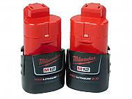 Milwaukee 48-11-2420 M12 2.0 Ah MAX Lithium Ion Battery Pack Two Pack
