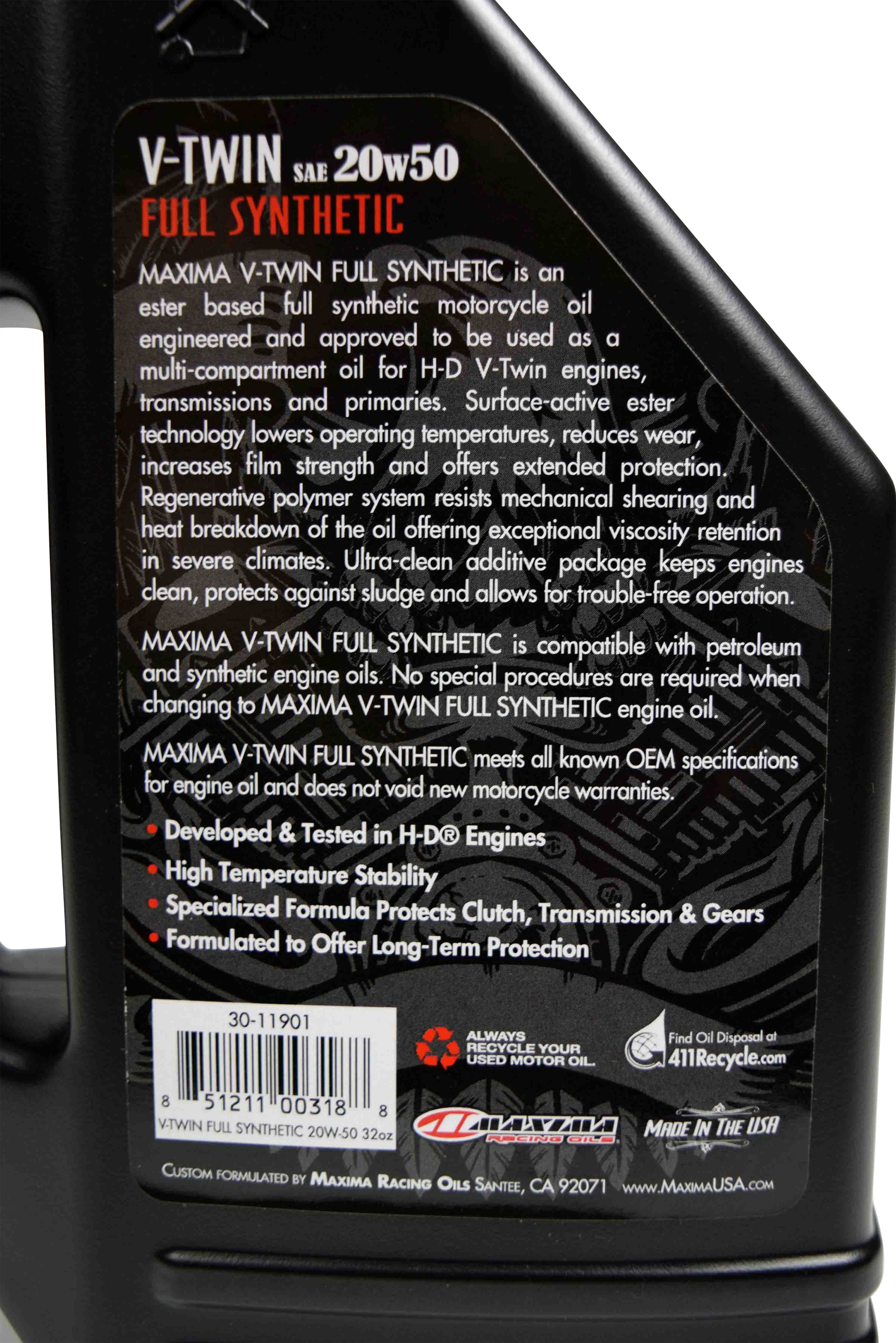 Maxima-Racing-Oils-30-11901-20w50-V-Twin-Full-Synthetic-Engine-Oil-32-fl.-oz.-image-5