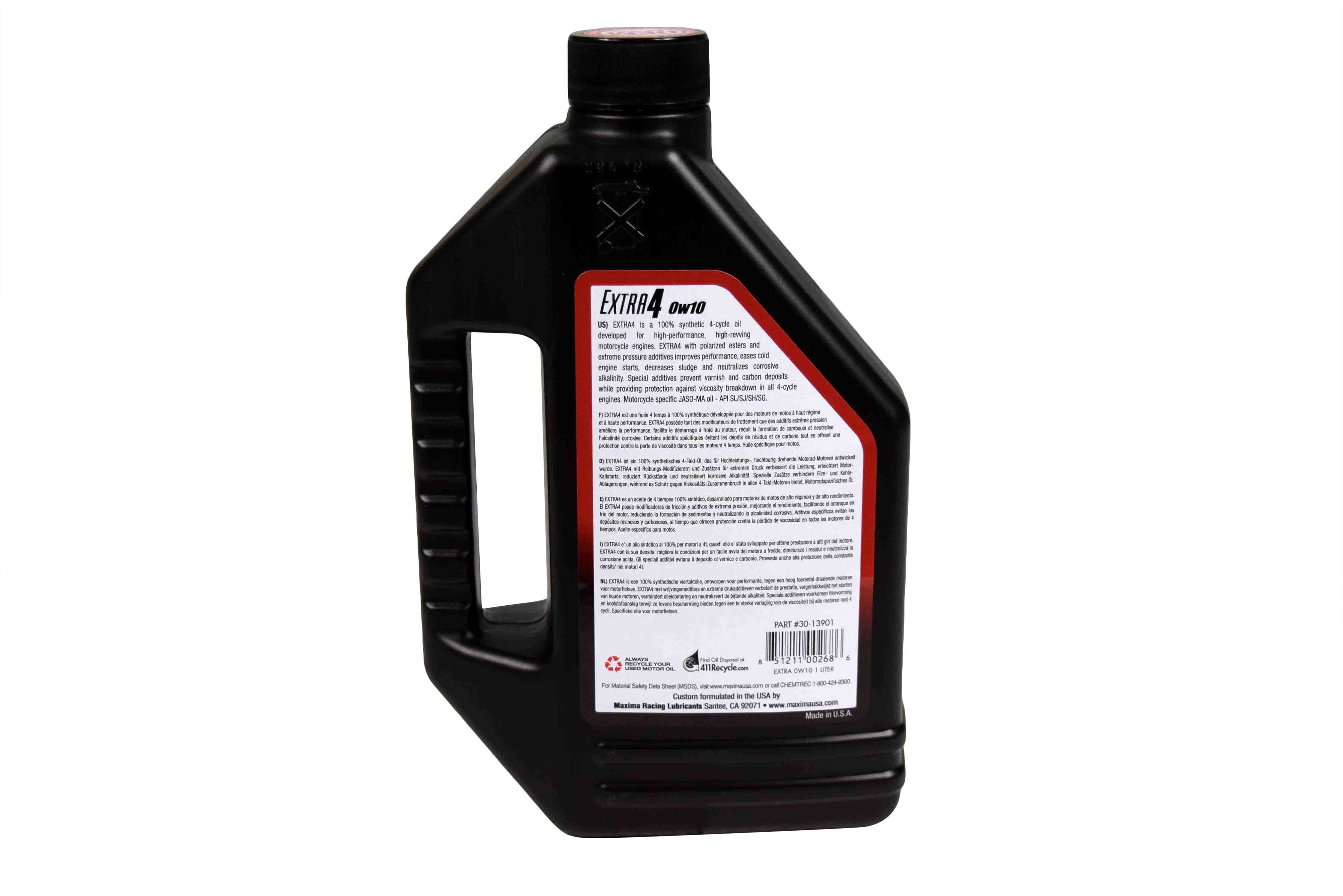Maxima-30-13901-Extra4-0W-10-Synthetic-4T-Motorcycle-Engine-Oil-1-Liter-Bottle-image-3