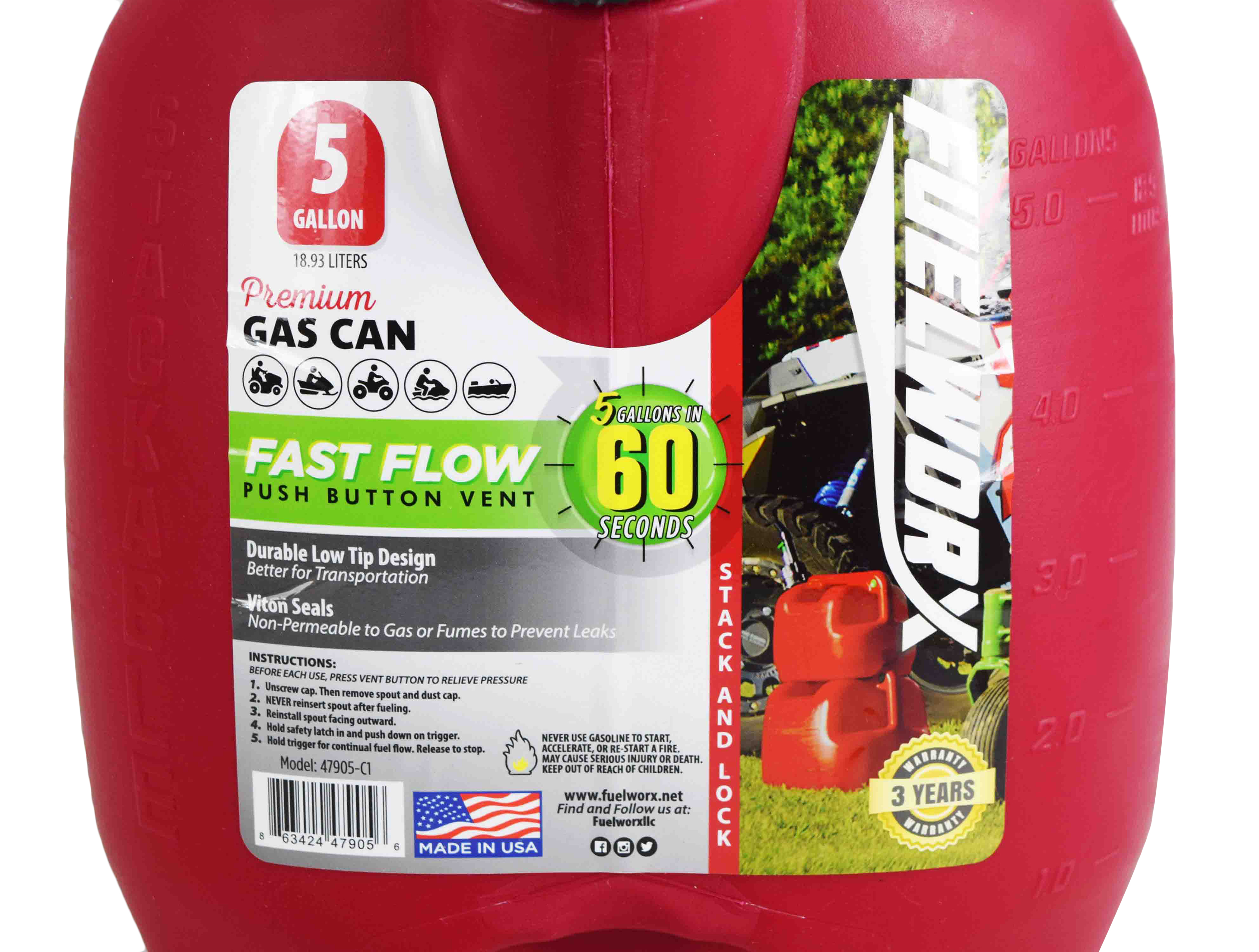 Fuelworx-Red-5-Gallon-Stackable-Fast-Pour-Gas-Fuel-Can-CARB-Compliant-Made-in-The-USA-5-Gallon-Gas-Can-3-Pack-image-8