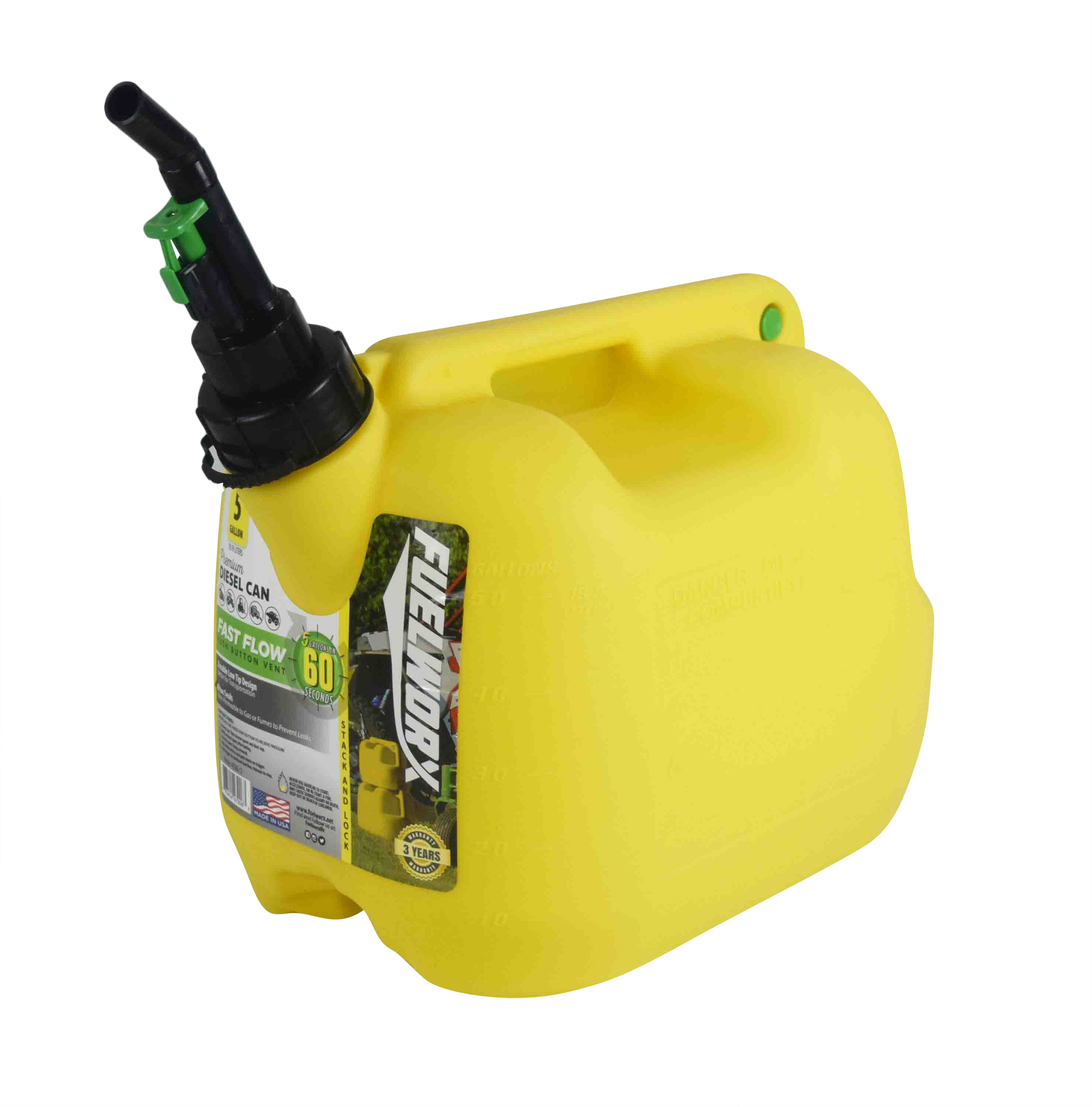 Fuelworx-Yellow-5-Gallon-Stackable-Fast-Pour-Diesel-Fuel-Cans-CARB-Compliant-Made-in-The-USA-5-Gallon-Diesel-Cans-3-Pack-image-3