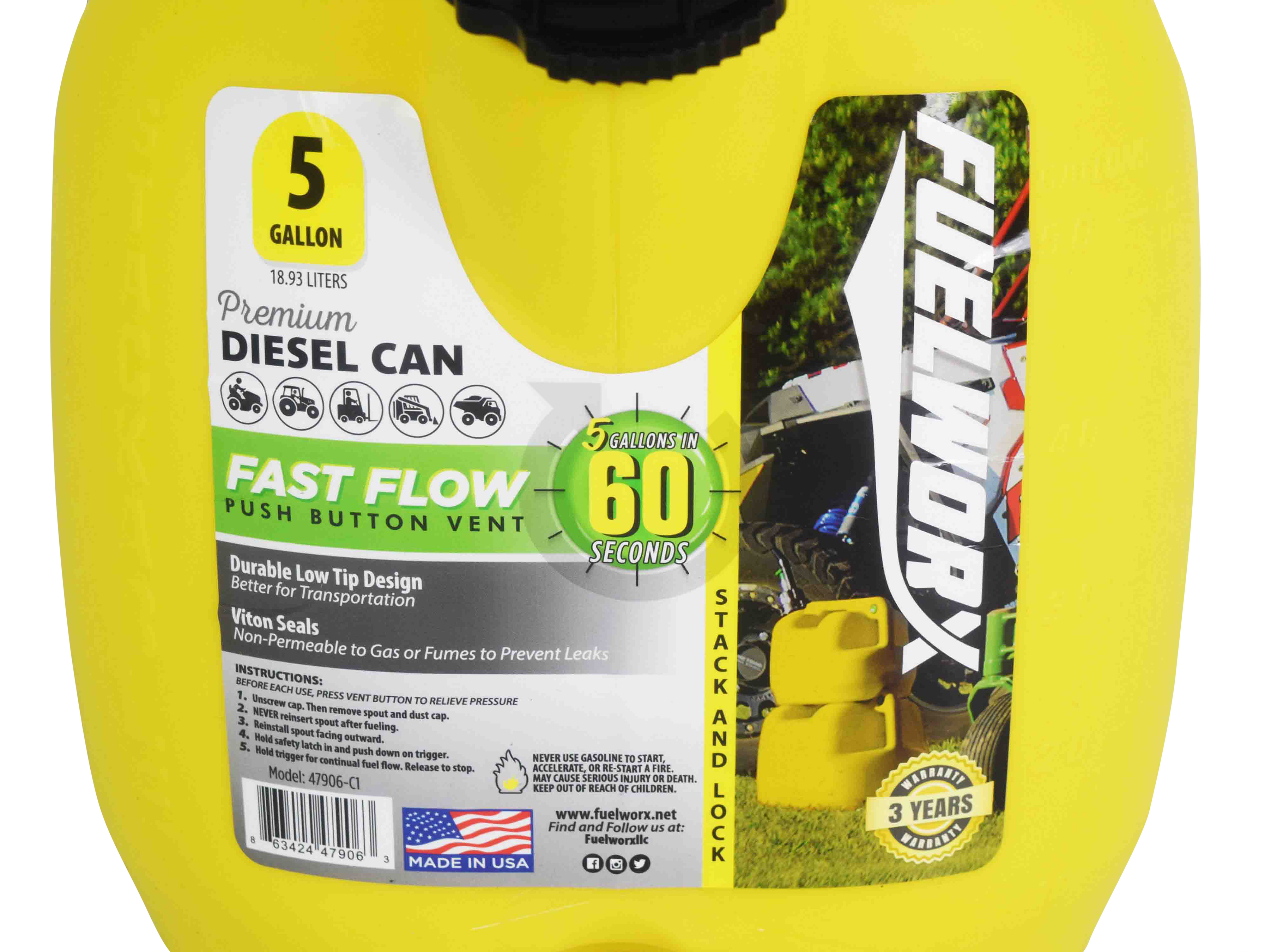 Fuelworx-Yellow-5-Gallon-Stackable-Fast-Pour-Diesel-Fuel-Cans-CARB-Compliant-Made-in-The-USA-5-Gallon-Diesel-Cans-3-Pack-image-8
